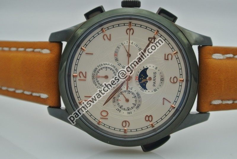 Parnis PVD case golden number White Dial Auto cow - Automatic - Parnis watch station