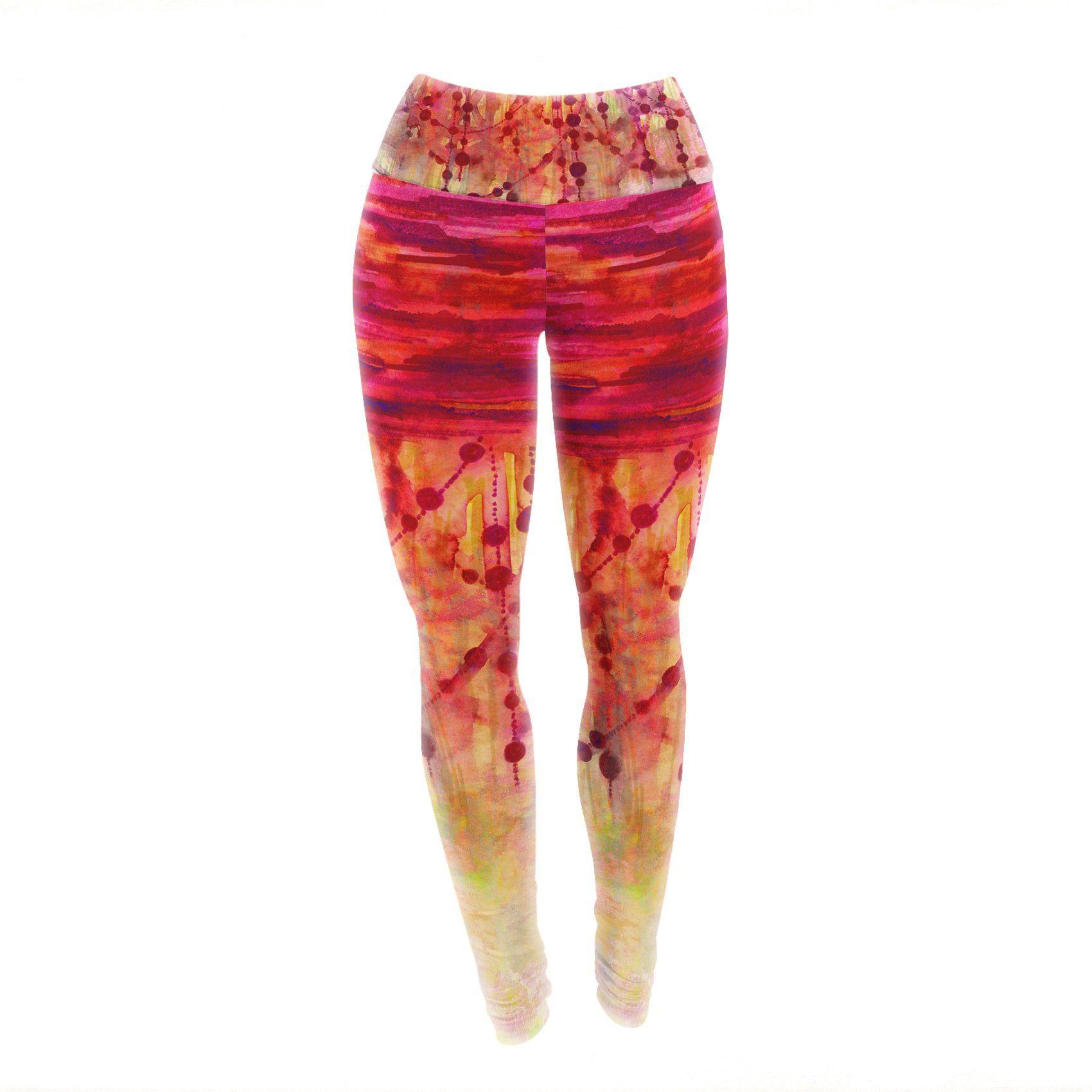 """Ebi Emporium """"Prismacolor Pearls"""" Pink Orange Yoga Leggings"""