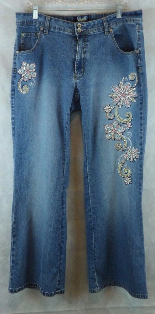 4ad7607f4e4 Angels Embroidered and Bejeweled Flower Design Denim Jeans Pants ~ Sz 18W # Angels #BootCut