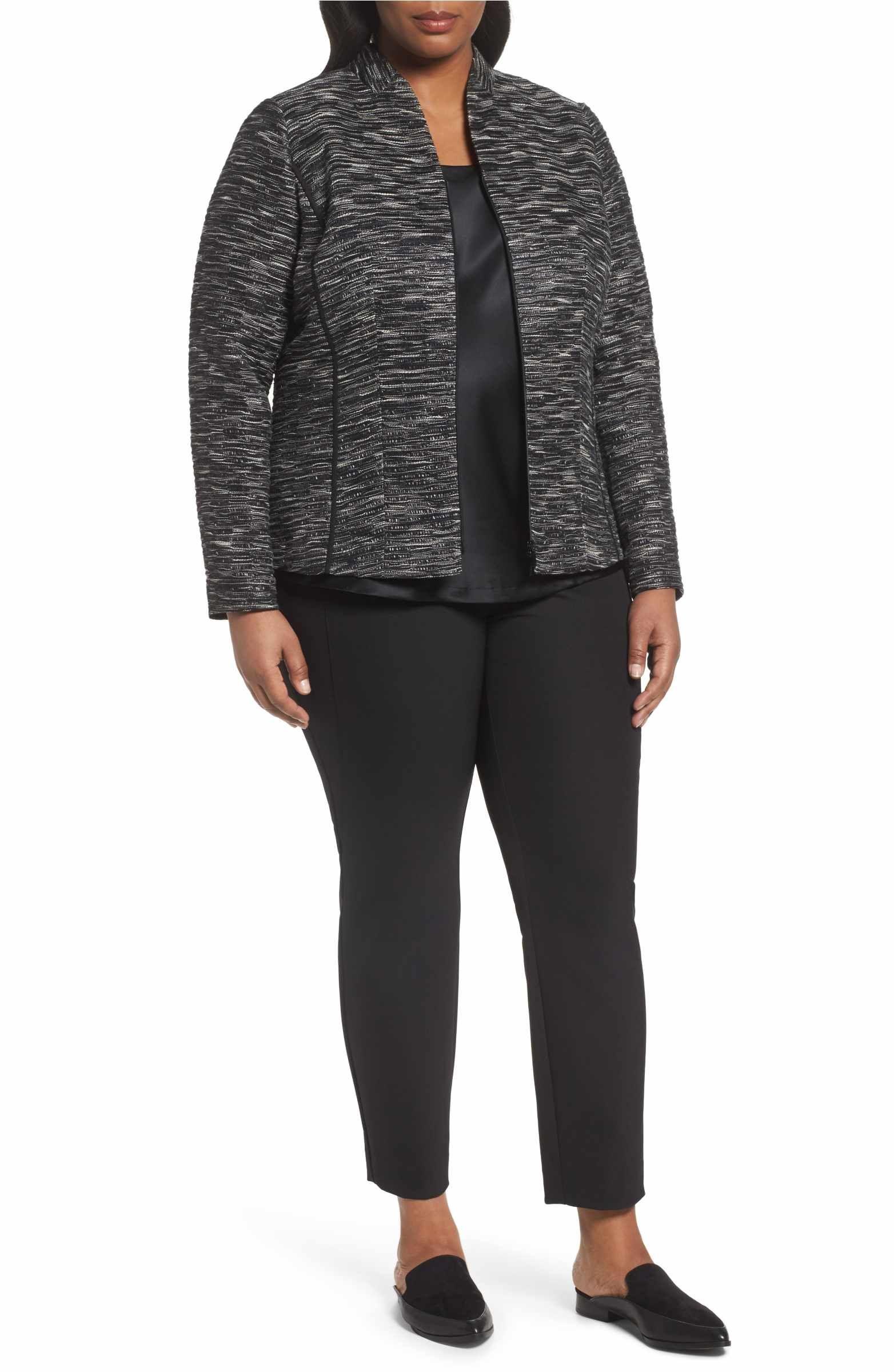 Lafayette 148 New York Meryl Zip Front Jacket (Plus Size