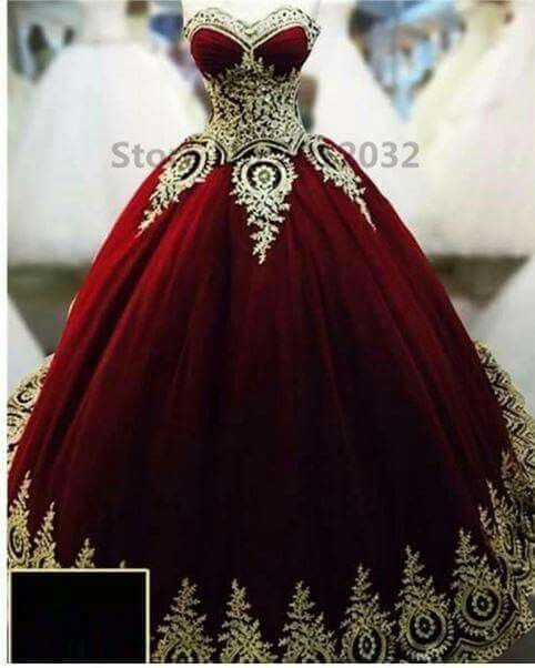 fdc5ac7e0e Ball Gowns Evening Dresses Dark Red with Gold Applique Quinceanera Dresses  Cosplay Kostüme