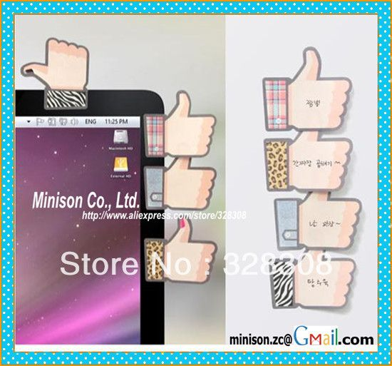 Fancy thumb up design sticky memo pads for office || 2 PCS/pack popular Korean style sticker notes