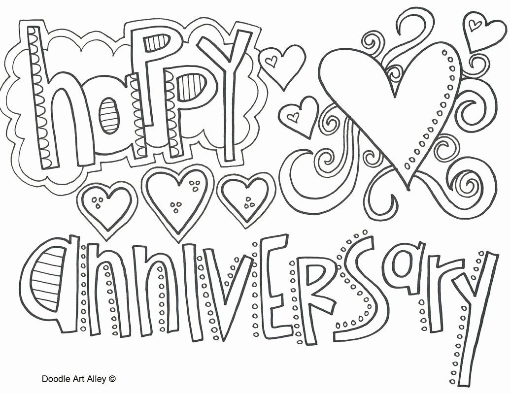 Happy Anniversary Coloring Page Luxury Anniversary Coloring Pages Doodle Art Happy Birthday Coloring Pages Birthday Coloring Pages Printable Anniversary Cards