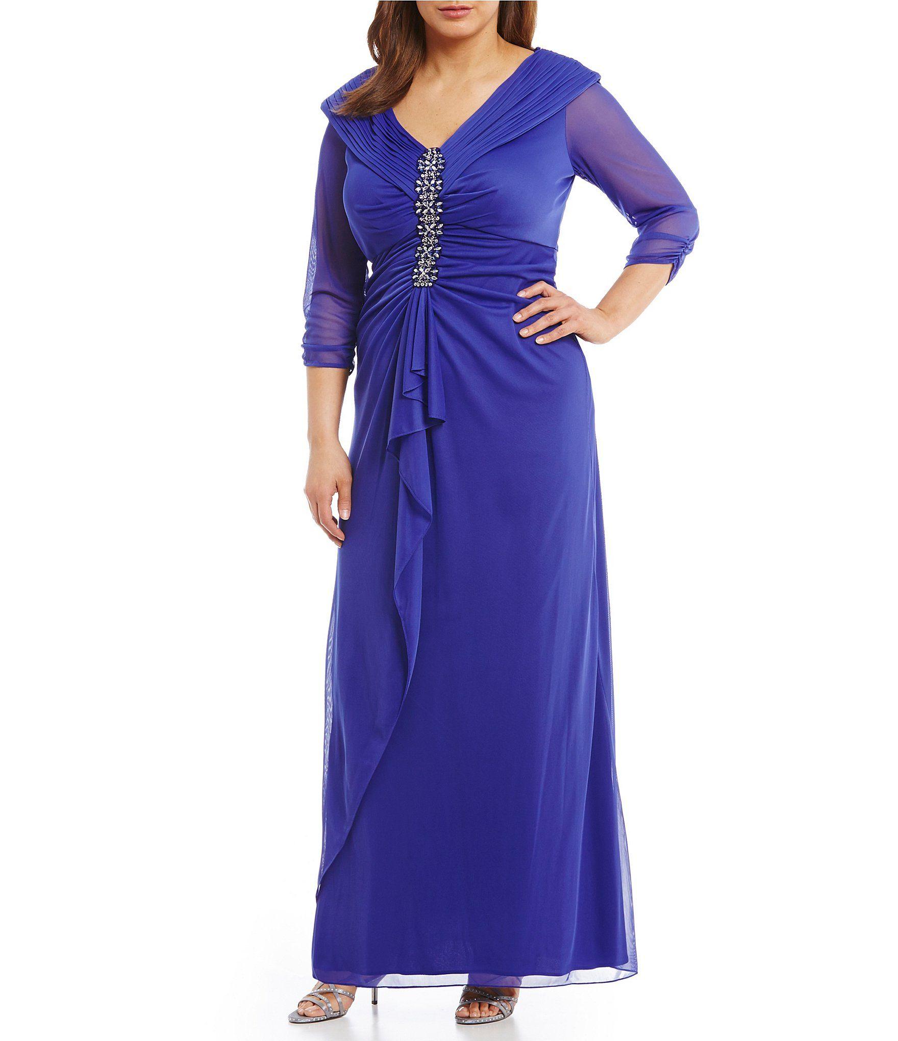 Alex Evenings Plus PortraitCollar BeadDetail Gown #Dillards | mother ...