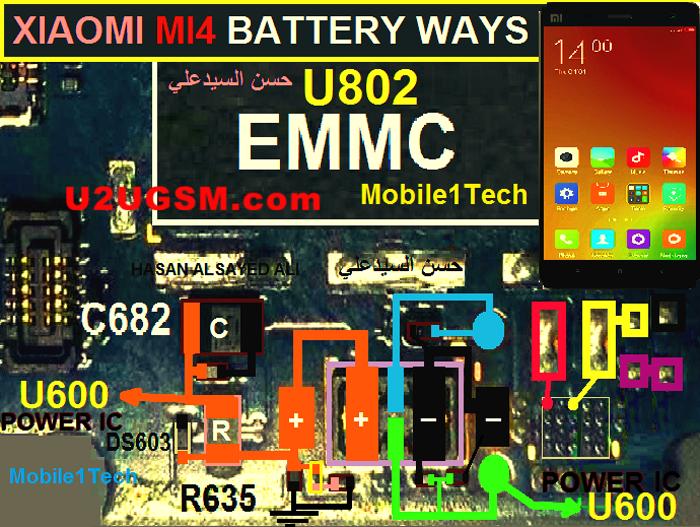 Xiaomi Mi 4 Battery Connector Terminal Jumper Ways | Cell