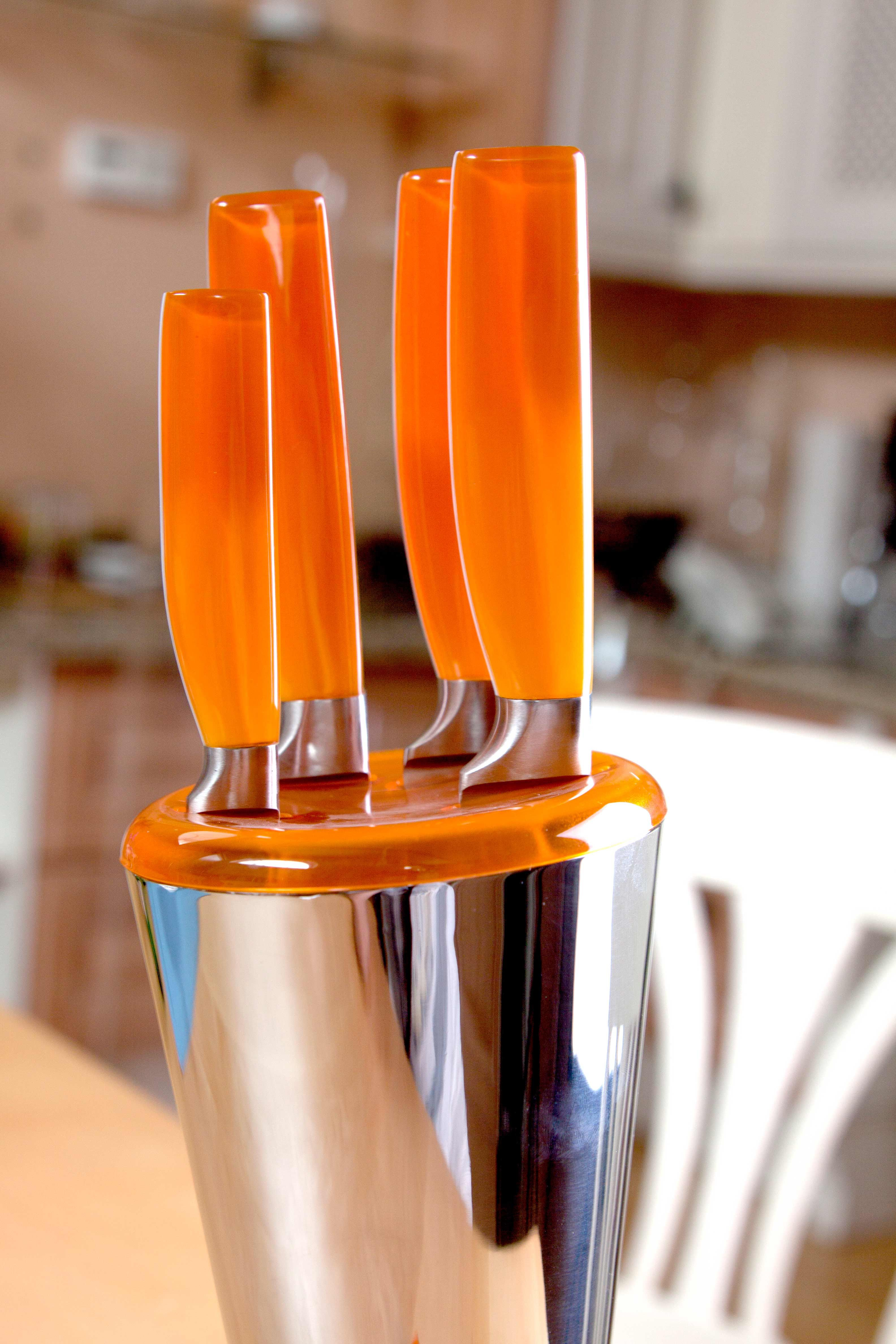 orange knife block set from italian designers guzzini orange