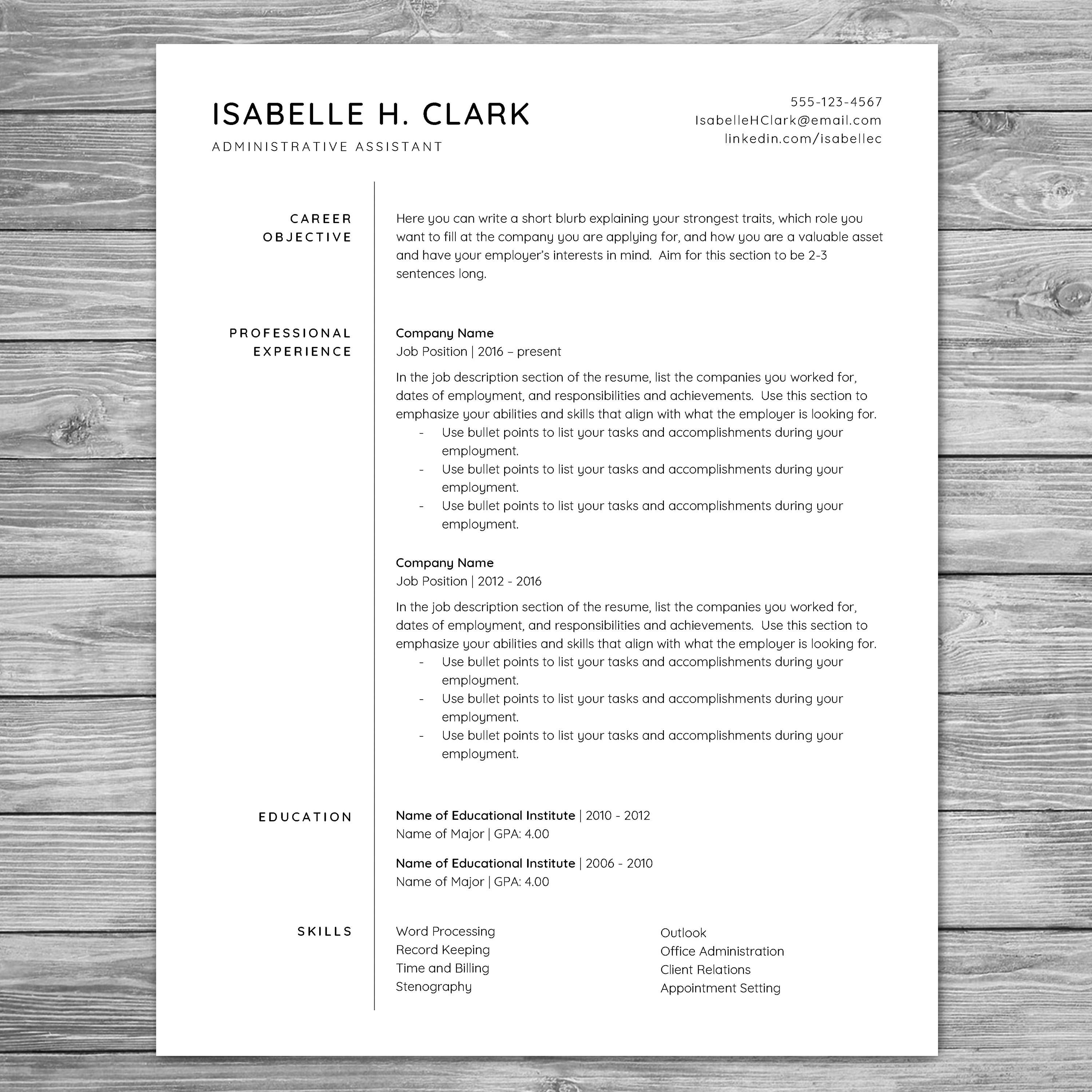 Professional Minimalist Resume Template Cv Template Printable Resume Instant Download Cover Letter Reference Sheet 8 5 X 11 A4 Http Etsy Me 2i Bewerbung