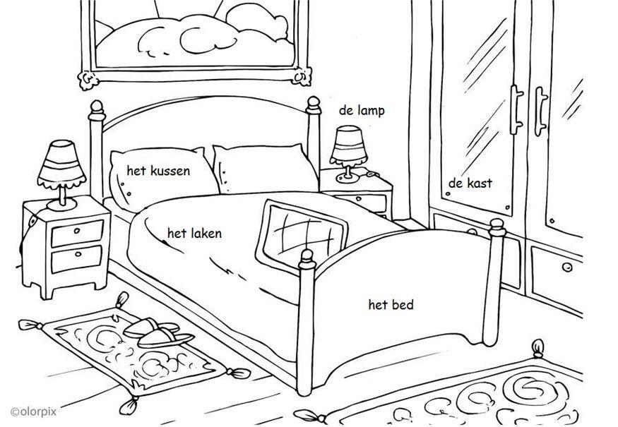 Kleurplaat de slaapkamer. Inclusief zelfstandig naamwoord + lidwoord ...