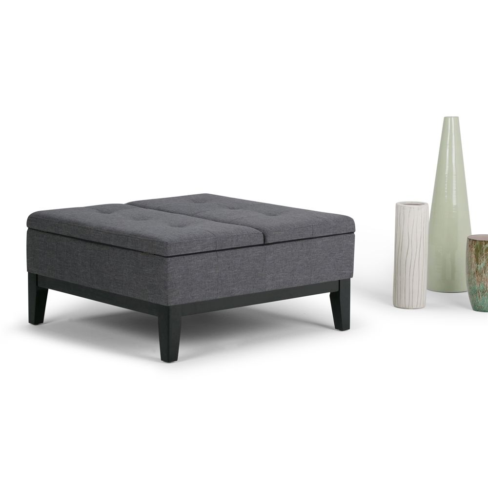 Simpli Home Axcot 235 Gl Dover Square Fabric Coffee Table Ottoman With Split