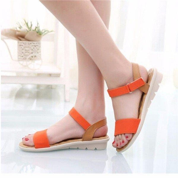 0f9f784e418 Sweet Ladies Basic Adhesive Sandals 3 Colors Patch Comfortable Flat Women  Shoes Summer Style Soft Leather Leisure Sandals Brand New Item Weight Color  Beig