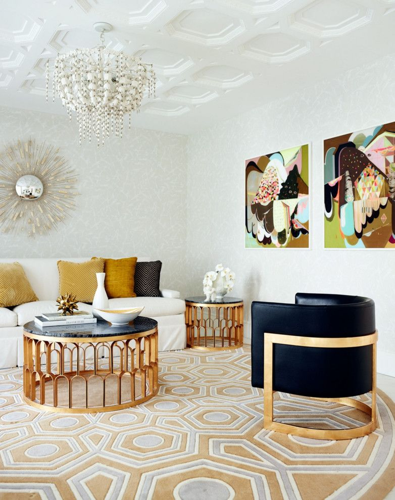 Copper coffee tables living room contemporary with round area rug - contemporary tables for living