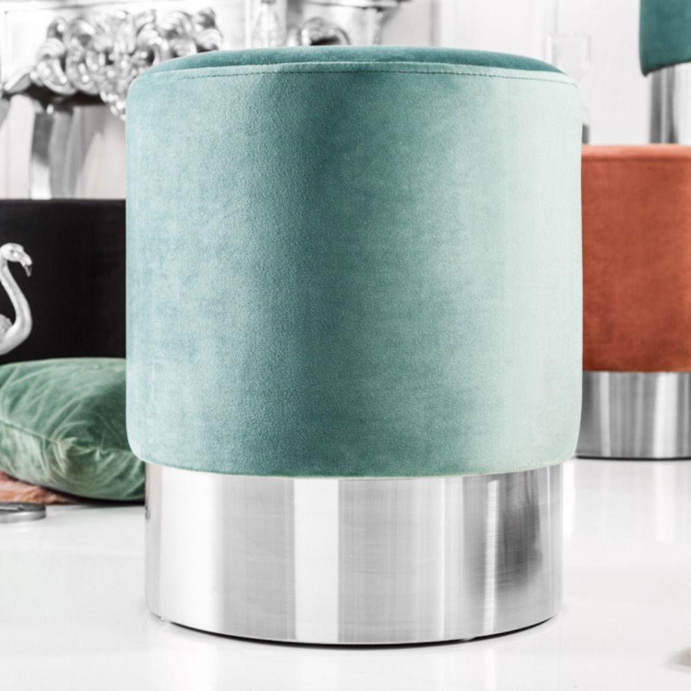 Eleganter Sitzhocker Modern Barock 35cm Samt Mint Silber Beistelltisch Silber Beistelltisch Sitzhocker Hocker