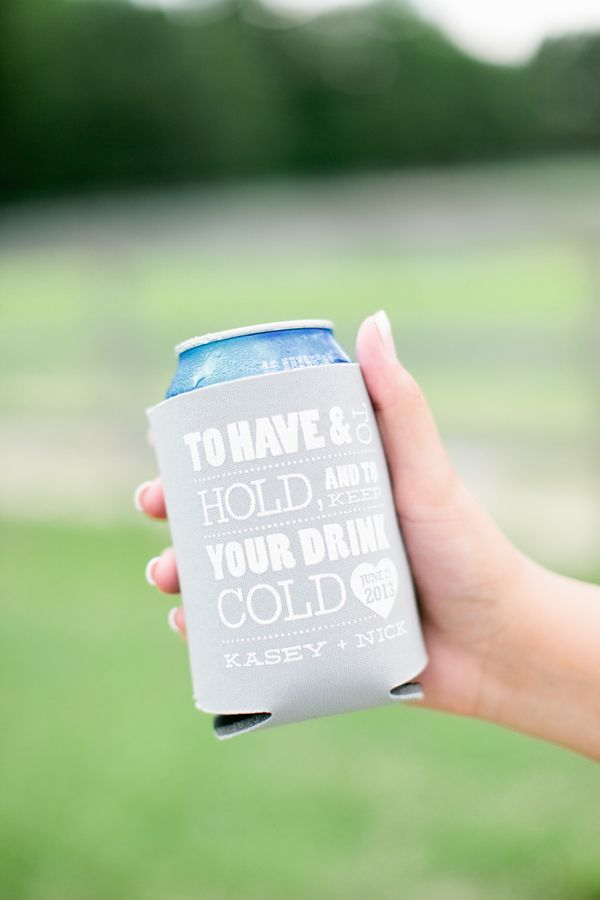 Personalized beer coozie wedding favor (Photo by Keepsake Memories Photography)