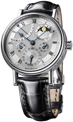 Breguet Minute Repeater Silver Dial Platinum Dial Black Leather Mens Watch 5447PT1E9V6