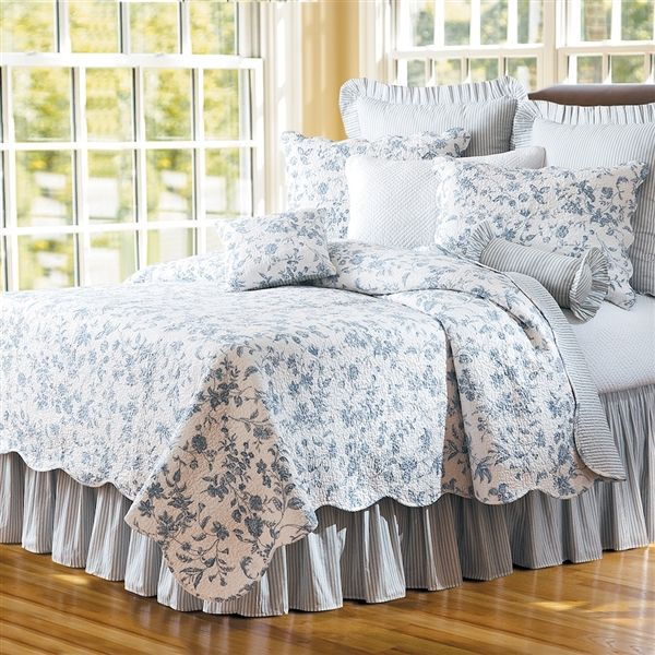 Williamsburg Brighton Blue Toile Quilt Quilts Dries Comforter Sets Bedspreads