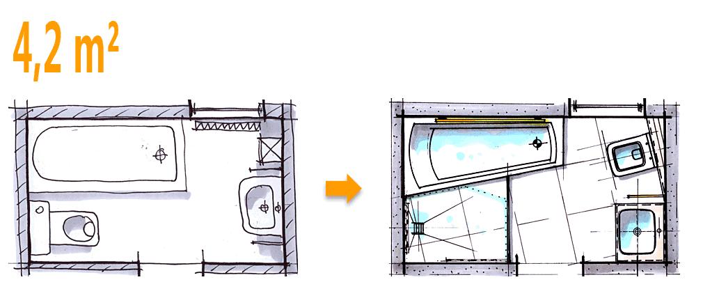 badplanung beispiel 4 2 qm komplettbad auf kleinstem raum. Black Bedroom Furniture Sets. Home Design Ideas
