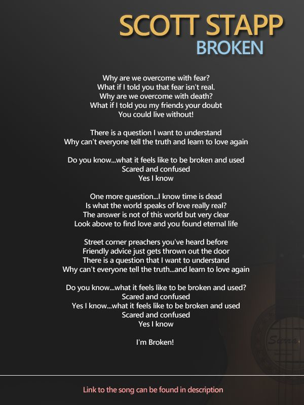 Scott Stapp Broken Https Www Youtube Com Watch V Fcpqswgtxbc Inspirational Songs Scott Stapp Band Quotes
