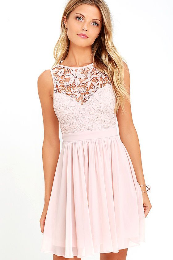 d9a8c35287 You can t help but hum a happy tune when you take a twirl in the Jolly Song  Blush Lace Skater Dress! Elegant crocheted lace tops a sweetheart  silhouette ...
