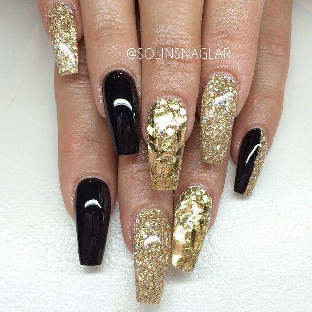 Black And Gold Coffin Nails Gold Nails Nail Designs Gold Coffin Nails