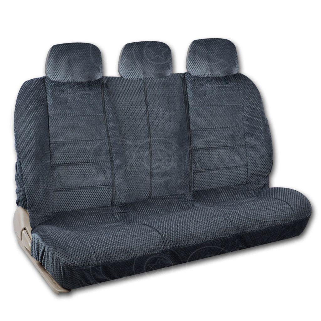 BDK Charcoal Checkered Cloth Scottsdale design Split BenchCover for SUV VAN TRUCK