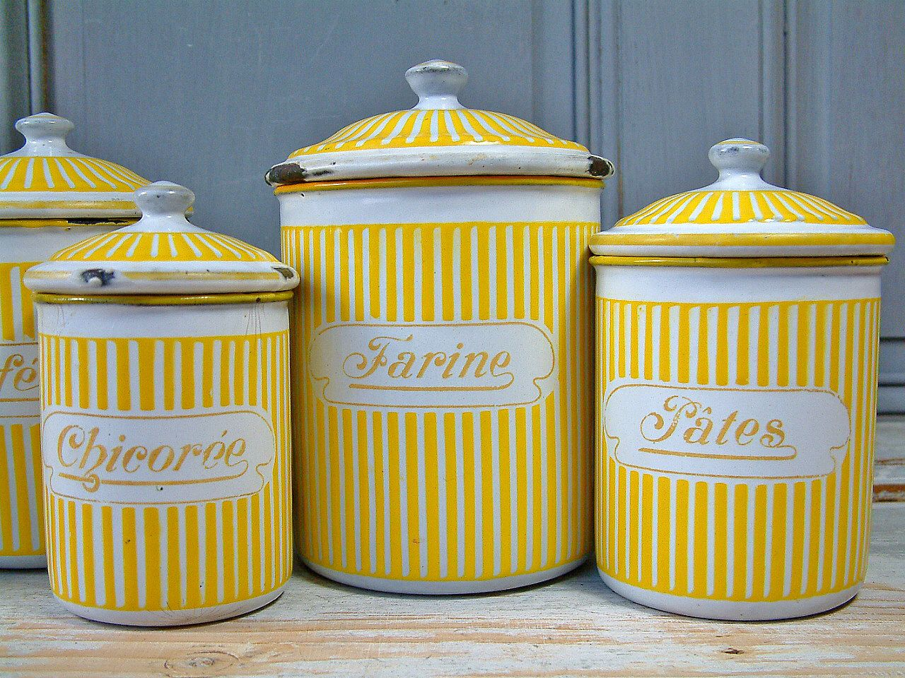 Vintage French Enamel Kitchen Canister Set In Yellow Stripes Signed And Numbered Bb Freres Austria