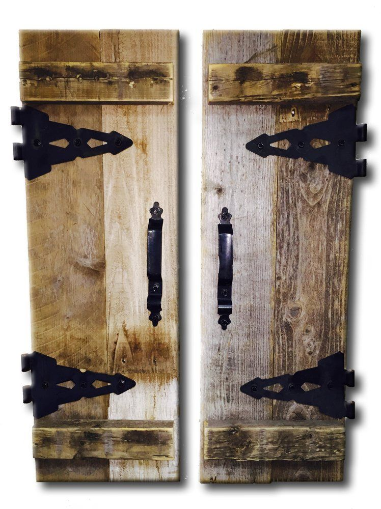 Barn Wood Rustic Decorative Shutter Set Of 2 With Hinges Decor