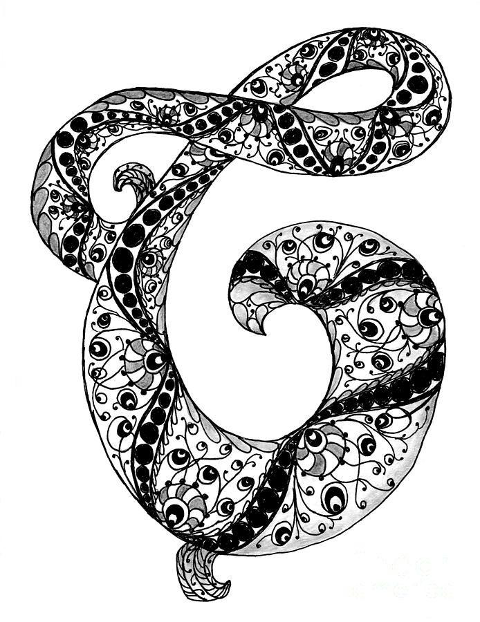 Zentangle Letter C Monogram In Black And White Drawing Zentangle Zentangle Art Black And White Drawing