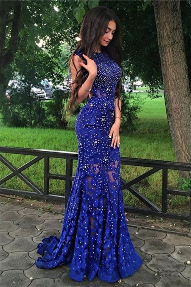 2822abbafe69 Gorgeous Sheath Open Back Royal Blue Lace Sparkly Prom Dress | Royal ...