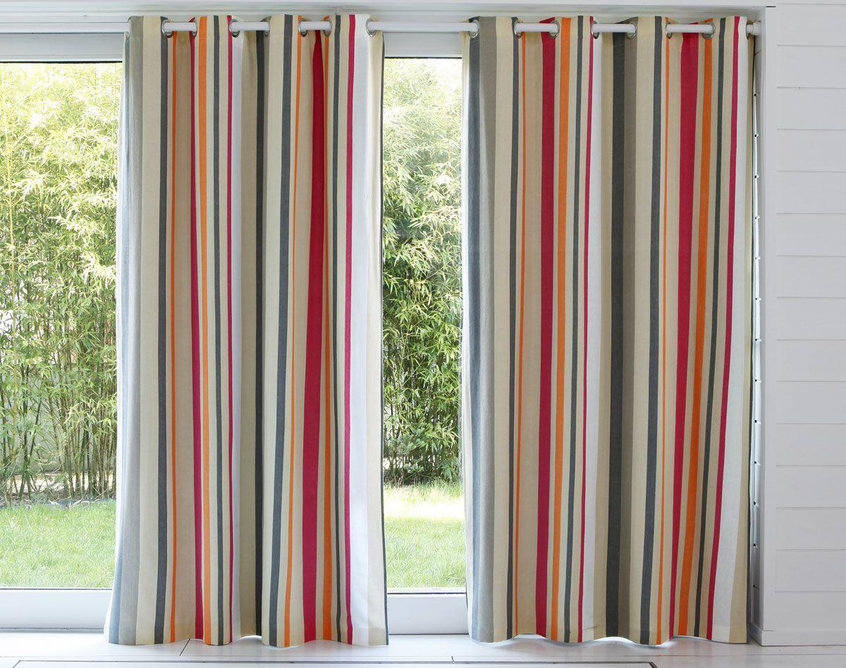 paire de rideaux rayures multicolores id es pour la maison pinterest rayures d co salon. Black Bedroom Furniture Sets. Home Design Ideas