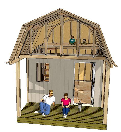 This 12x16 Gambrel Shed Has A Nice Front Porch And Huge Loft For Sleeping Quarters Shed Building Plans Shed Plans Shed Design