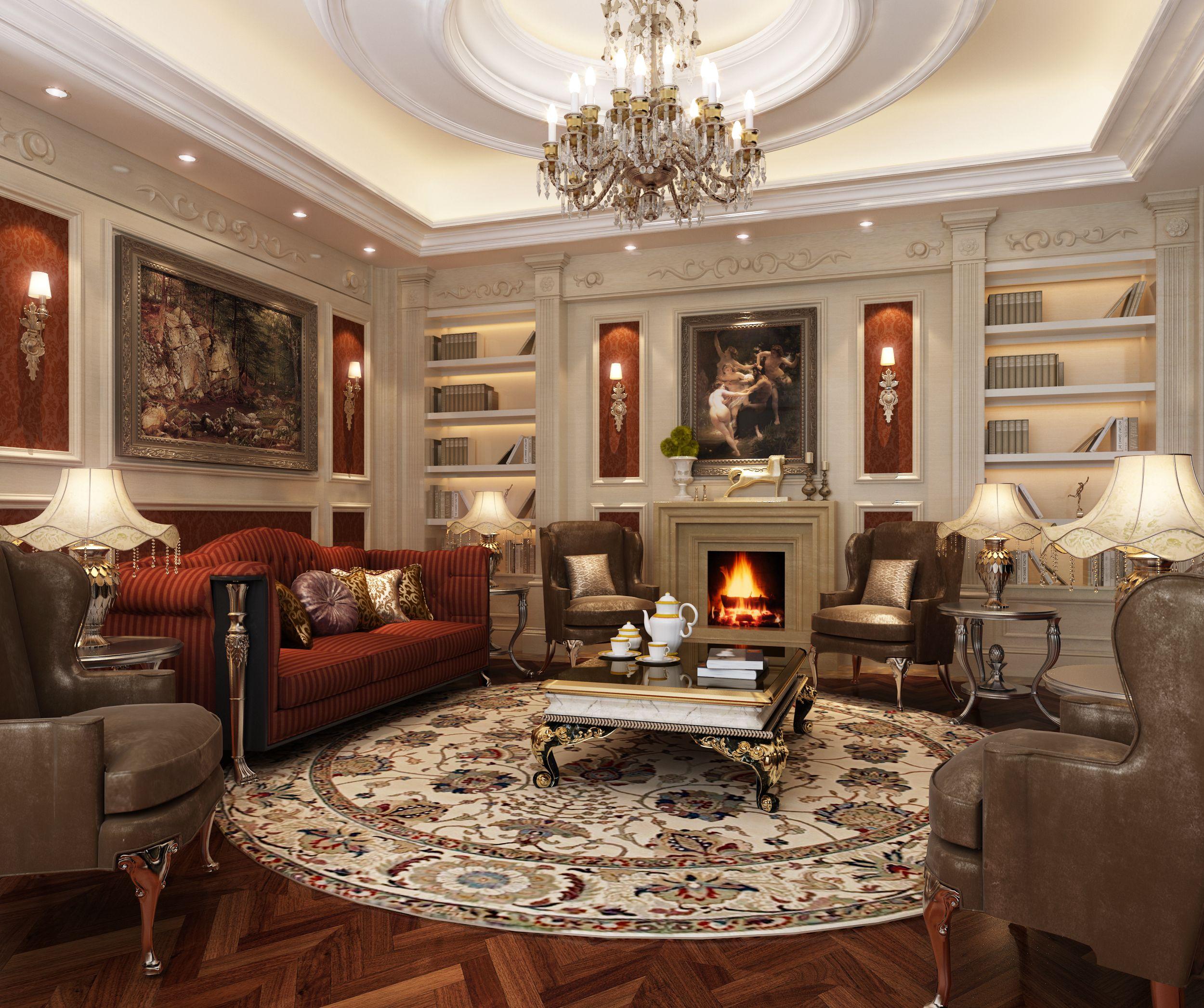 Elegant luxury living room | 3D model