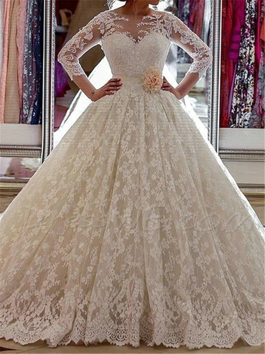3/4 length lace wedding dress   Dresswe SUPPLIES Vintage  Length Sleeves Lace