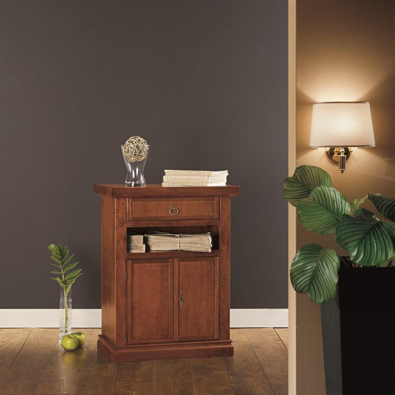 Mobile Homedecorating:  MOBILE PORTA TELEFONO IN LEGNO NOCE SCURO ARTE POVERA ART