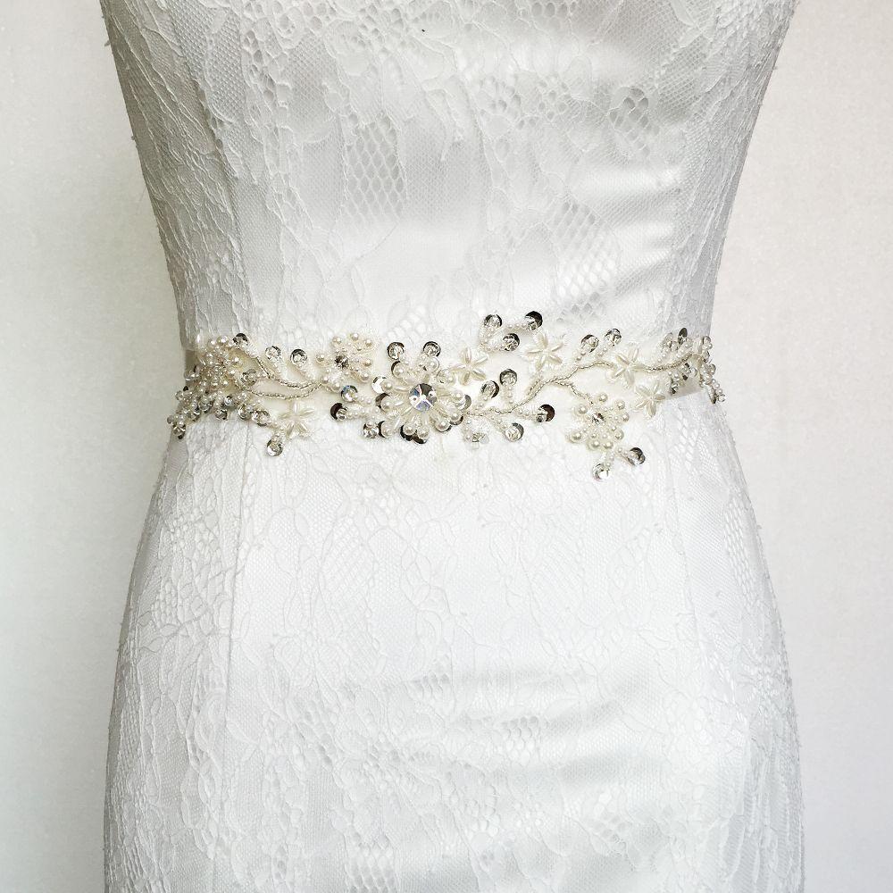 4b64a6b3b0 TOPQUEEN S46 FREE SHIPPING Rhinestones Pearls Wedding Belts ribbon ...