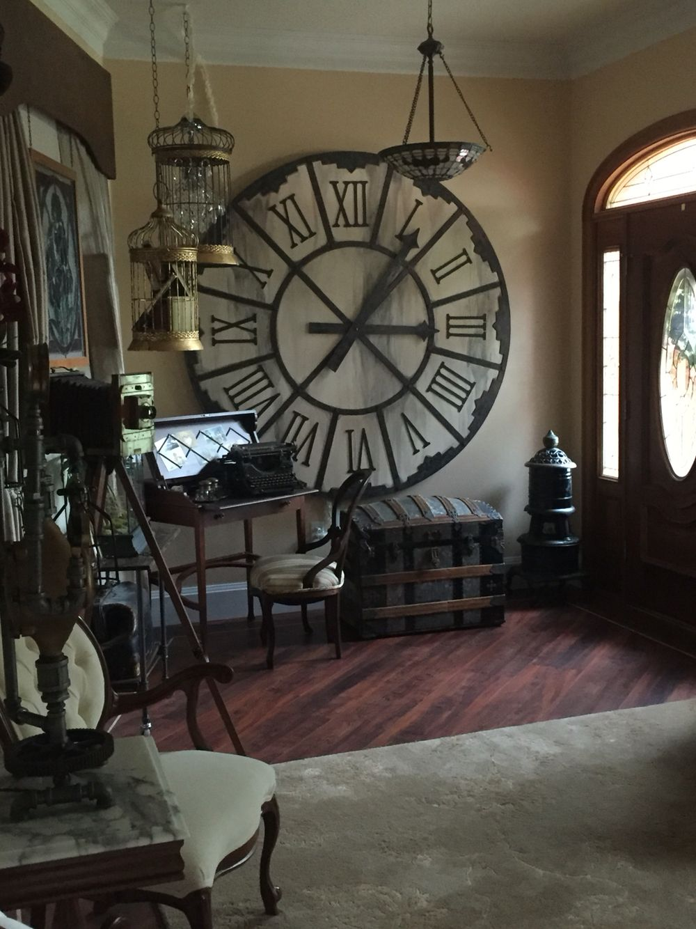 Our new steampunk living room still a work in progress for Steampunk living room ideas