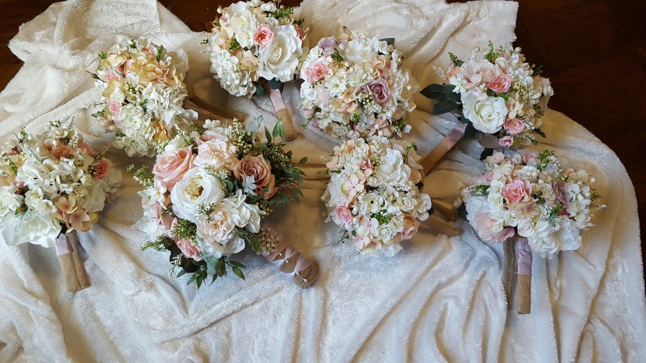 Rustic Wedding Flowers With Pinks And Burlap From Hen House Designs