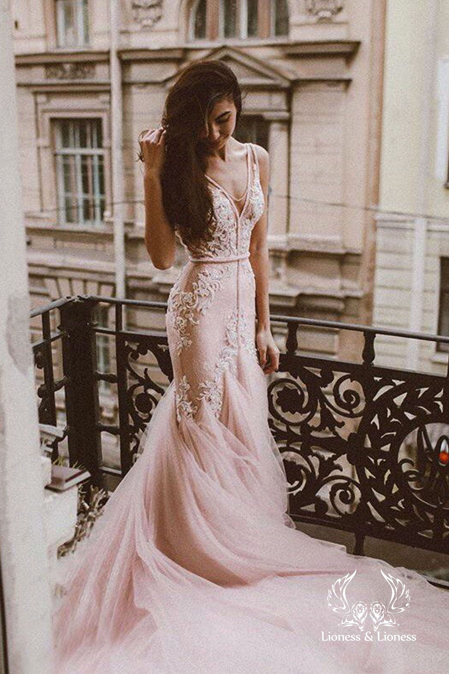Pink Blush Lace Wedding Dress Mermaid Fluffy Removable Tulle Skirt Mermaid Hand Embroidery Lace Deep V Back Lace Deep V Neck Rosali Blush Wedding Dress Lace Top Wedding Dresses Pink Wedding Dress Mermaid [ 2250 x 1500 Pixel ]
