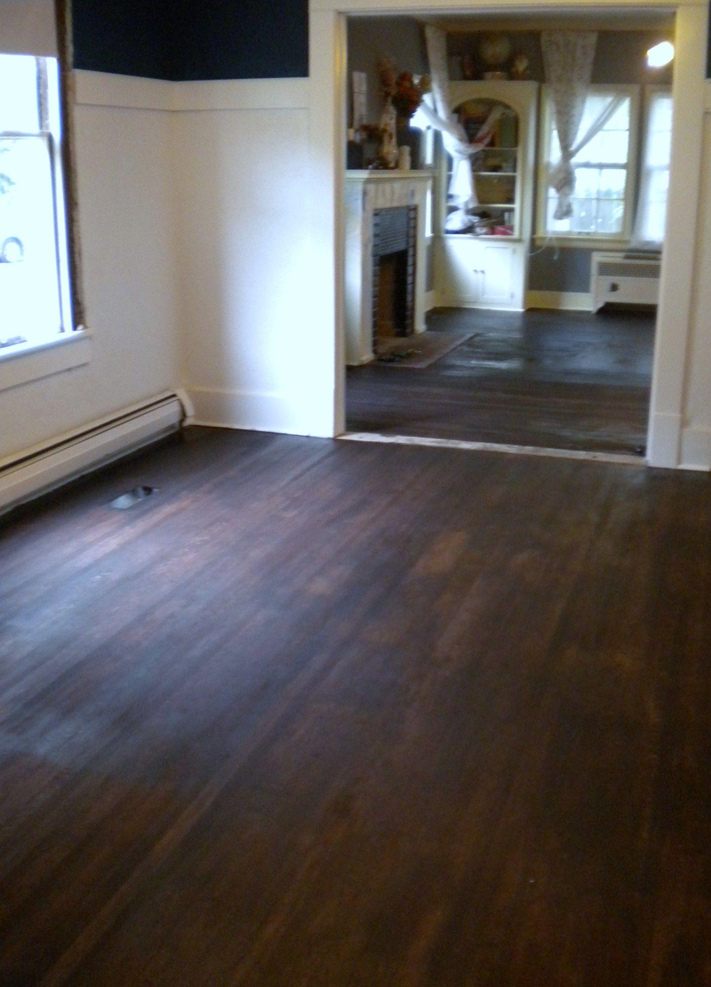 Dark stained hardwood floors cool walnut stain gloss polished dark