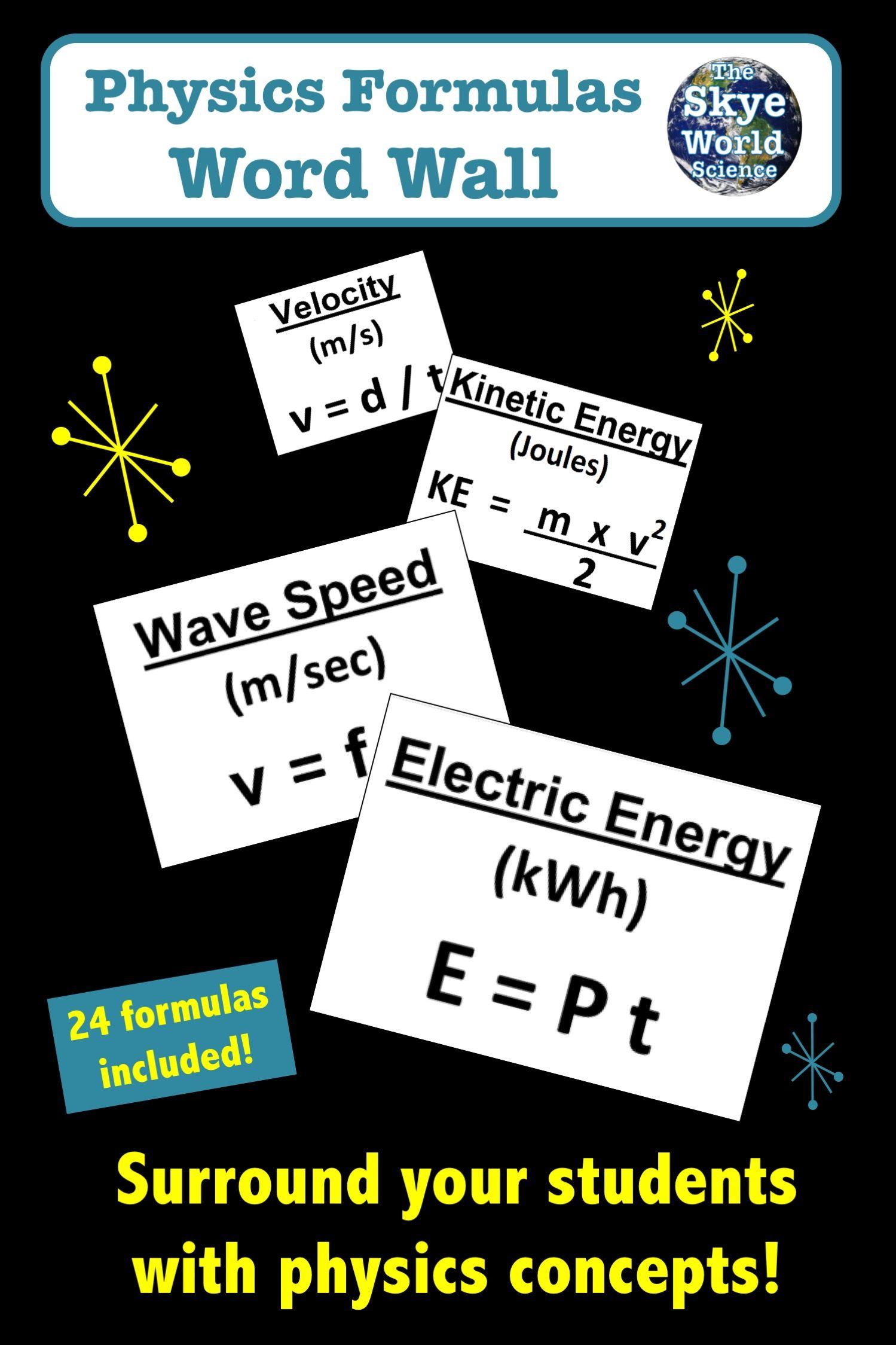 Physics Bulletin Board Physics Formulas Physics Teacher Observation [ 2249 x 1499 Pixel ]