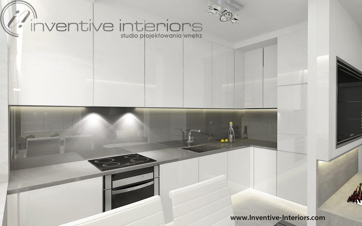 Projekt kuchni Inventive Interiors  Biała minimalistyczna   -> Kuchnia Ecru Z Czarnym Blatem