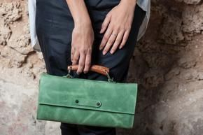 Green Leather Clutch Urban Purse Cosmetic Bag