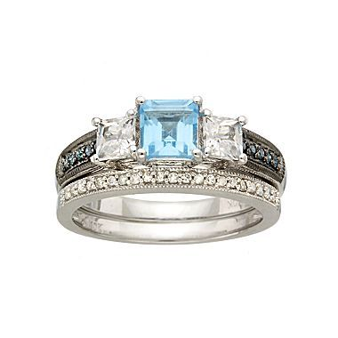 bridal bouquet diamond blue topaz wedding ring set jcpenney - Jcpenney Rings Weddings
