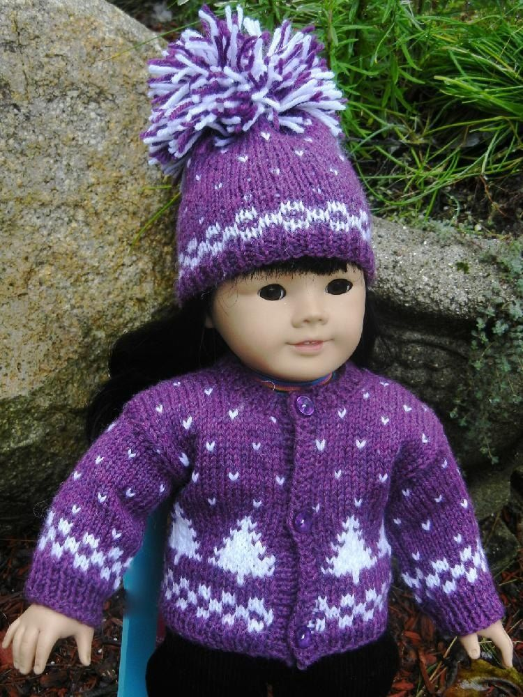 Winter Pines Doll Hat, Sweater & Mitten Set #dollhats