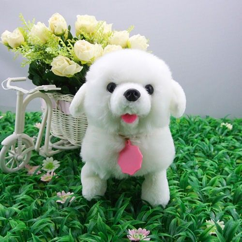 Interactive Electronics Stuffed Walking White Dog Puppy Kids Toy