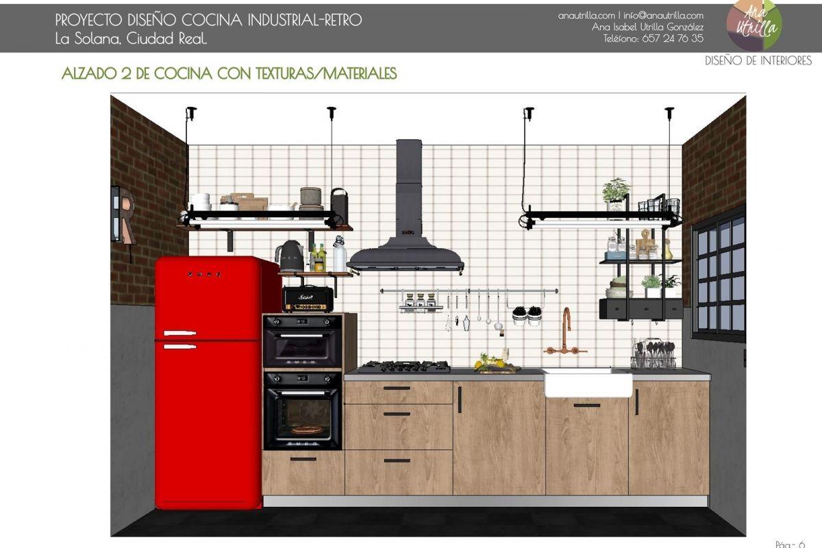 Propuesta De Cocina De Estilo Industrial Por Ana Utrilla  # Muebles Relleno Solana
