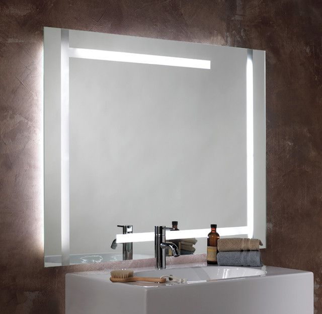 Bathroom Small Oval Illuminated Lighted Mirror With Black Wall Design And Sink Steel Faucet