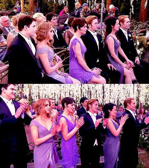 Emmett, Rosalie, Alice, Jasper, Esme, Carlisle at Edward and