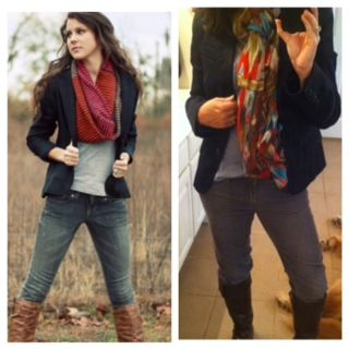 Pinterest Told Me To!  Blazer, scarf, grey cords, and brown boots.