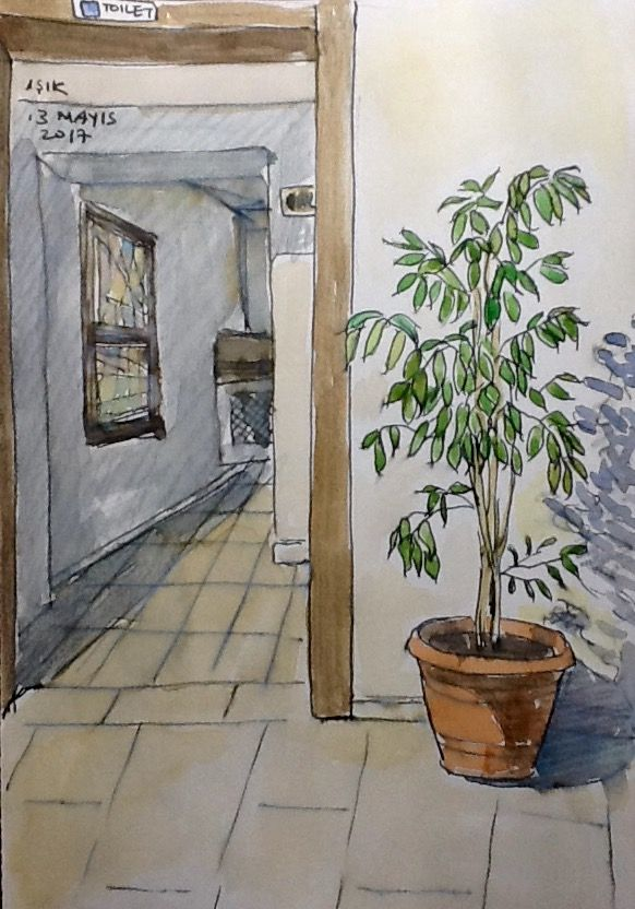 Entrance Of Toilet Pen Watercolours