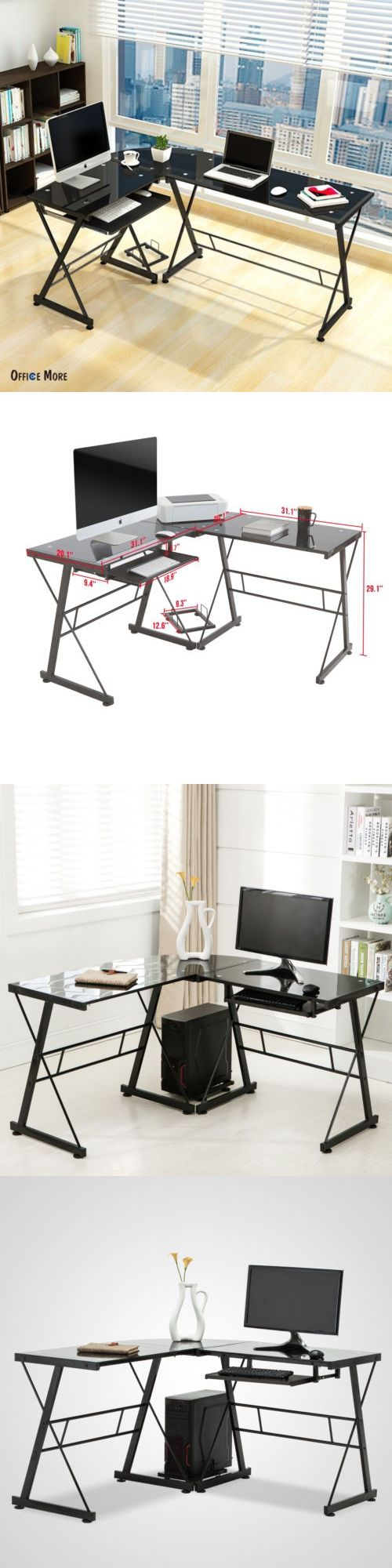 desks and home office furniture 88057 black l shape glass corner rh pinterest com